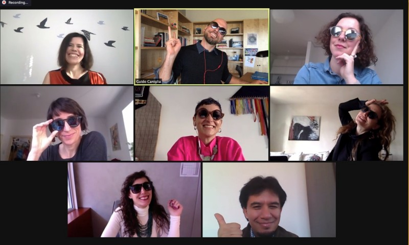 A screenshot of a zoom meeting with participants of ClimArtLab